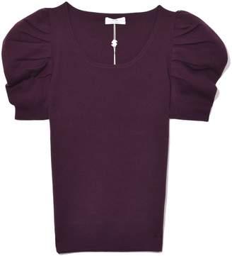 Co Short Sleeve Scoop Neck Sweater in Plum
