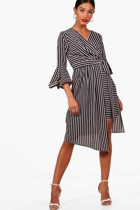 boohoo Wrap Front Contrast Stripe Midi Dress