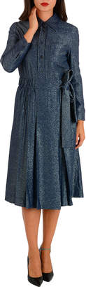 Prada (プラダ) - PRADA ラメ プリーツ ウエストリボン 長袖ドレス ブルー 40