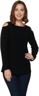 Susan Graver Textured Liquid Knit Cold Shoulder Bateau Neck Top