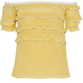 RED Valentino Off-The-Shoulder Tiered Silk-Chiffon Blouse
