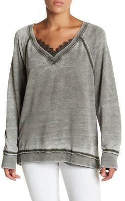 Melrose and Market Lace Trim Fleece Sweater (Petite)