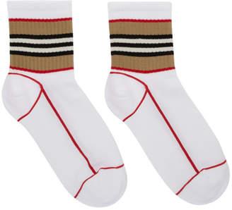 Burberry White Icon Stripe Sport Socks