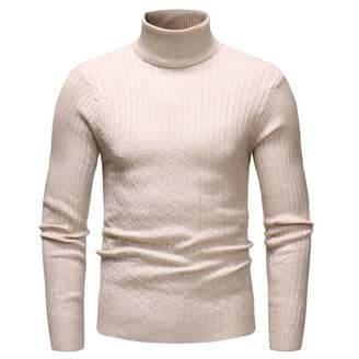 BEYOLO Mens Casual Slim Fit Ribbed Knitted Pullover Stand Collar Turtleneck Sweater