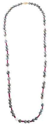 Belpearl 14K Pearl & Sapphire Bead Strand Necklace