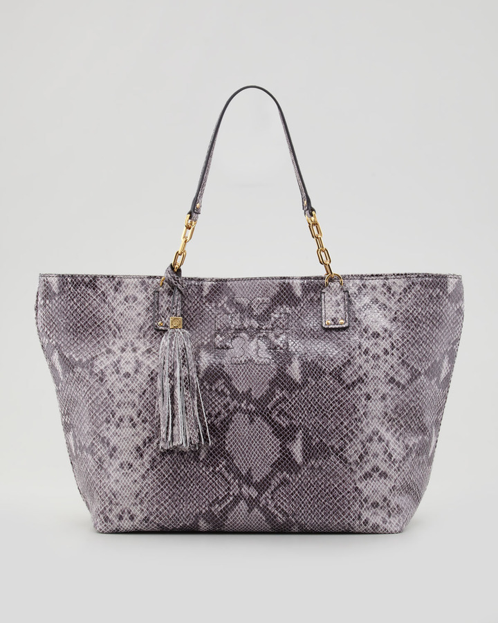 Tory Burch Thea Snake-Print Leather Tote Bag, Opal Gray