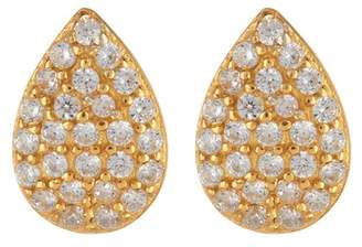 Argentovivo 18K Gold Plated Sterling Silver CZ Pave Teardrop Earrings