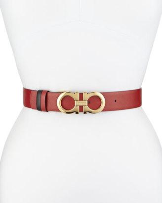 Salvatore Ferragamo 3.5cm Reversible Double Gancini Belt, Red/Black $395 thestylecure.com