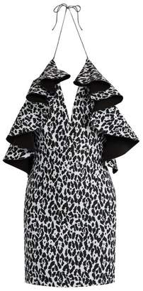 Balmain Ruffled Leopard Print Mini Dress - Womens - Black White