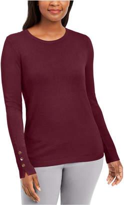 JM Collection Button-Cuff Crewneck Sweater