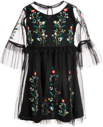 Blueberi Boulevard Toddler Girls Embroidered Mesh Dress