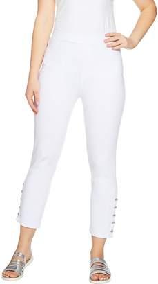Susan Graver Weekend French Knit Capri Pants w/ Novelty Buttons