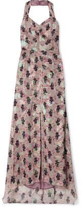 Anna Sui Black Iris Printed Fil Coupé Silk-blend Chiffon Halterneck Maxi Dress - Pink