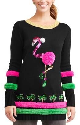 Holiday Time Women's Ugly Christmas Sweater Flamingo Tunic