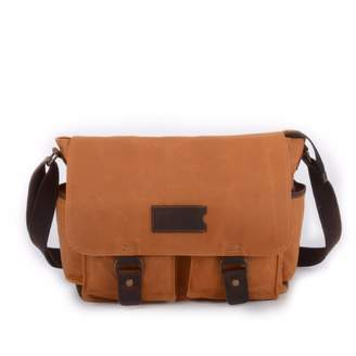 EAZO - Waxed Canvas Water Repellent Postman Shoulder Bag in Tan Colour