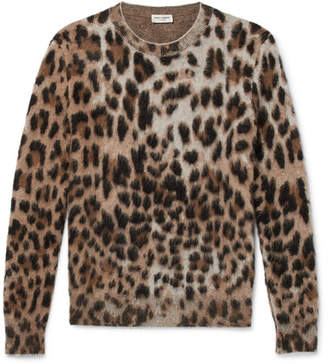 Saint Laurent Slim-Fit Leopard-Print Mohair-Blend Sweater