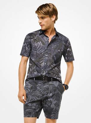Michael Kors Slim-Fit Leaf Cotton Shirt