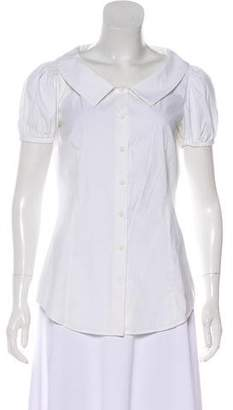 RED Valentino Short Sleeve Button-Up Blouse