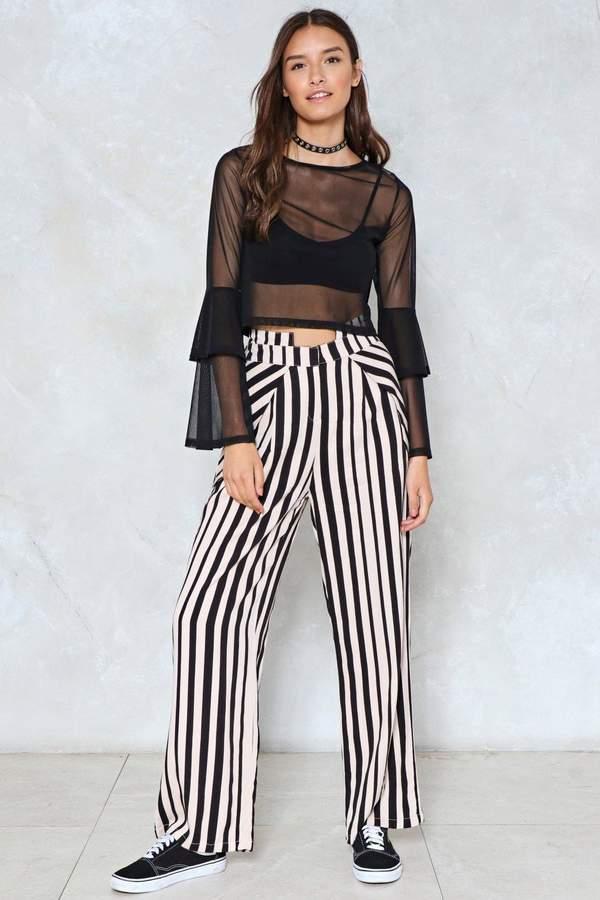 nastygal Believe the Stripe High-Waisted Pants