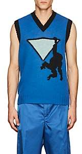 Prada Men's Monkey-Graphic Wool Sweatervest-Blue