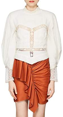 Isabel Marant Women's Lyneth Crocheted-Inset Linen Blouse