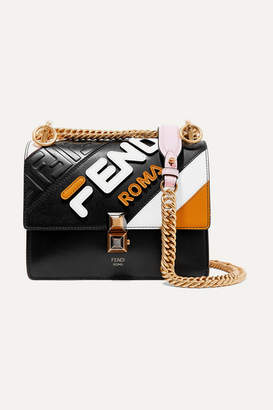 Fendi Kan I Mini Appliquéd Leather Shoulder Bag - Black