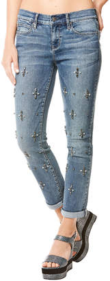 Nicole Miller New York Tribeca Mid-Rise Rhinestoned Straight-Leg Jeans