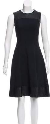 L'Agence Leather-Accented Sleeveless Dress