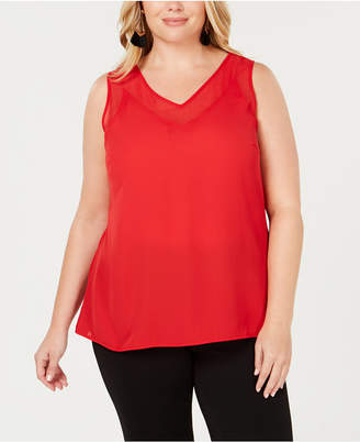 INC International Concepts I.N.C. Plus Size Sheer-Trim Tank, Created for Macy's