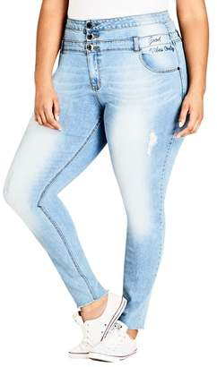 City Chic Harley Vibes Ripped Corset Skinny Jeans