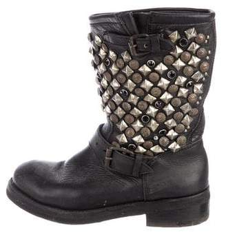 Ash Studded Leather Moto Boots