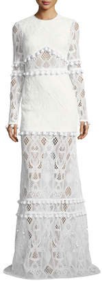 Alexis Thora Jewel-Neck Long-Sleeve Lace Maxi Dress