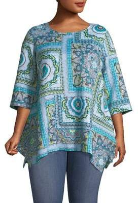 Context Plus Printed Linen-Blend Top