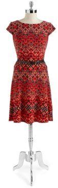 Anne Klein Aztec Print Belted A-Line Dress