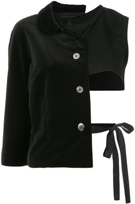 deconstructed jacket with ribbons