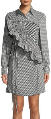 3.1 Phillip Lim Ruffled Long-Sleeve Gingham Shirtdress