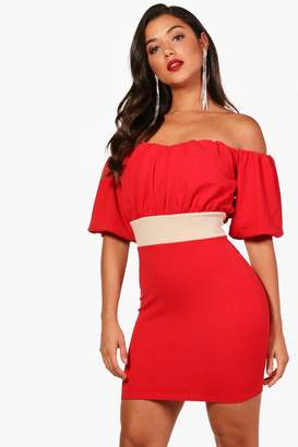 boohoo Off the Shoulder Puff Sleeve Mini Dress