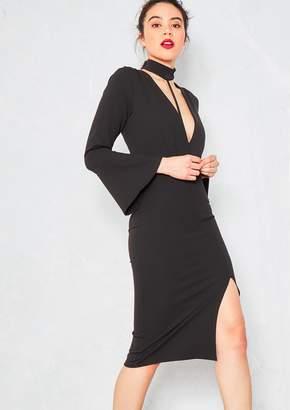 9bd12a5495d Missy Empire Missyempire Bexie Black Plunge Harness Detail Side Split Midi  Dress