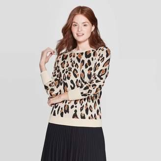 A New Day Women's Leopard Print Long Sleeve Rib-Knit Cuff Crewneck Pullover Sweater Cream
