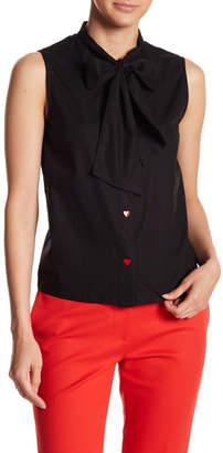 Love Moschino Bott Heart Button Necktie Blouse