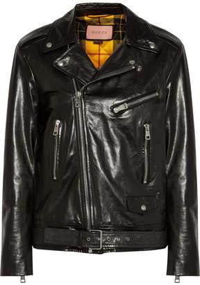 Gucci Painted Leather Biker Jacket - Black