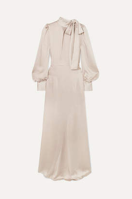 Rotate by Birger Christensen Tie-neck Satin Maxi Dress - Beige
