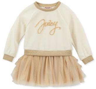 Juicy Couture Velour Sweatshirt Top & Tulle Bottom Dress (Baby Girls 12-24M)