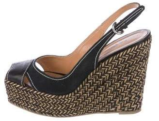 Sergio Rossi Woven Platform Wedges