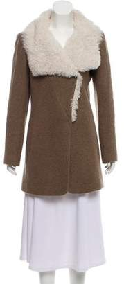 Theory Shearling-Trimmed Wool Coat