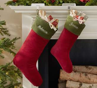 Pottery Barn Basic Velvet Stockings - Red with Green Cuff