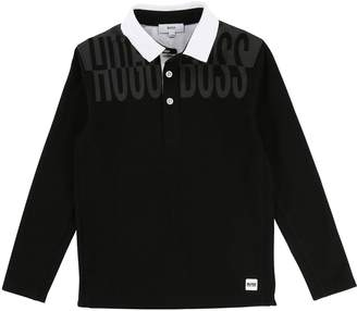 BOSS Boys Long Sleeve Mesh Side Print Polo Shirt