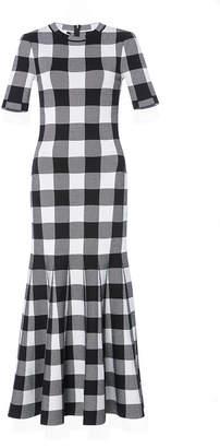 Oscar de la Renta Gingham Flared Midi Dress