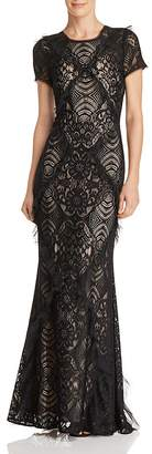 BCBGMAXAZRIA Embellished Lace Gown