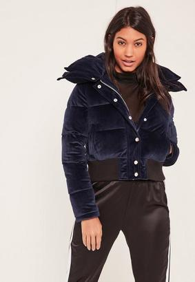 Navy Velvet Cropped Padded Coat $110 thestylecure.com